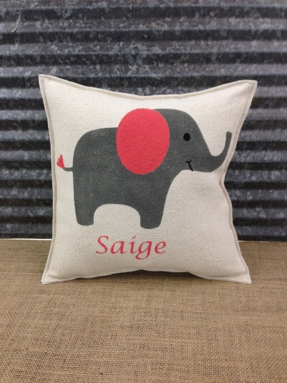 Cute Names For Elephant Pillow Pets : Baby child pillow with a cute Elephant and custom name