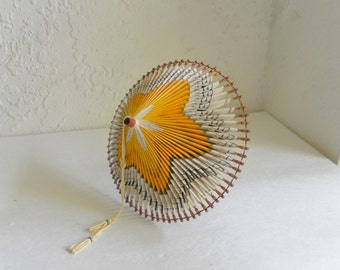 Vintage 70's Folded Paper Origami Umbrella Japan Tramp Art Souvenir