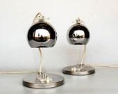 Pair of Mid Century Modern Eyeball Desk Lamps /  Meblo Guzzini / Bedside Table Lamps / Design Classic Lighting / Plexiglass Chrome