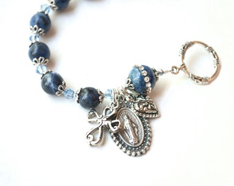 Miraculous Medal Rosary Bracelet with 24 Page Novena Booklet, Catholic Jewelry, Sodalite Rosary Bracelets, Choose Your Saint