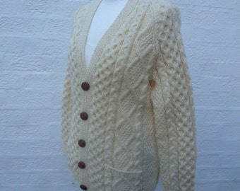 Aran cardigan small men size chunky cable knitwear vintage clothing 1970s knitted fishermans cardigan cottage chic natural cream wool top.