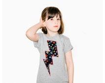 Childrens' T-Shirt    Top   Tee   Lightening Bolt Patch   Grey   Hipster Kids   Girls   Unisex   Floral Print   Cleo Cobb   Cool Kids