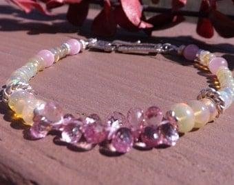 Ethiopian Opal, Pink Sapphire, Pink  Opal. Sterling Silver Bracelet