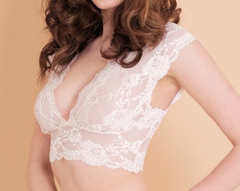 Lace Bra Bralette in Dove White with Floral Detail // Lace Lingerie //  Lace Intimates Handmade from Brighton Lace.