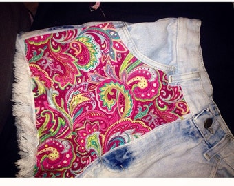 Womens and Girls Highwaisted light blue denim shorts inspired by lily pulitzer