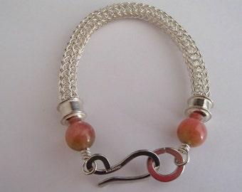 Viking Knit weave Bracelet Sterling Silver with Watermelon Jade beads handmade