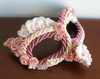 Masquerade Mask, Pink Roses, Bird Mask, Marie Antoinette - The Labyrinth