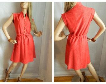 50% OFF Vintage 1970's Red - Orange Belted Waist Dress Boho Meets Mod Size Small