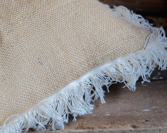 burlap ring bearers pillow with fringe