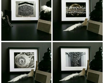the black white series set of 4 prints modern arabic islamic calligraphy - Islamic Home Decoration