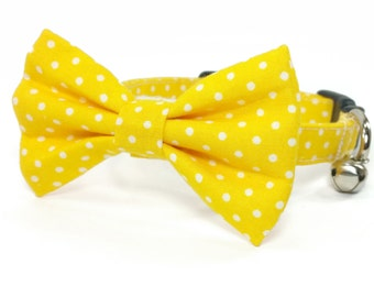 Yellow polka dot dog bow tie collar set & cat bow tie collar set - adjustable with bell (optional), yellow and white