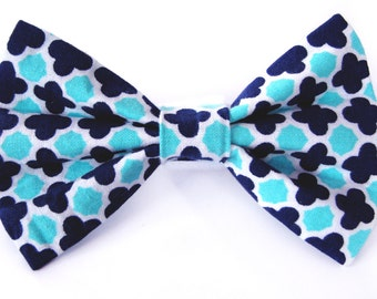 Aqua and Navy Blue bow tie - cat bow tie, dog bow tie, collar attachment