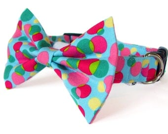 Blue, pink, yellow and green dots - cat and dog bow tie collar set