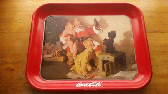 Coca Cola Christmas Tray Ft Santa Children And Dog Red Coke
