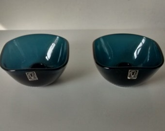 Pair of Swedish Glass Candle Holders for J. Wuidart & Co, London. Blue. Candlesticks