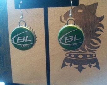 Recycled Bud Lite Lime Beer Bottle Upcycled Bottlecap Earrings