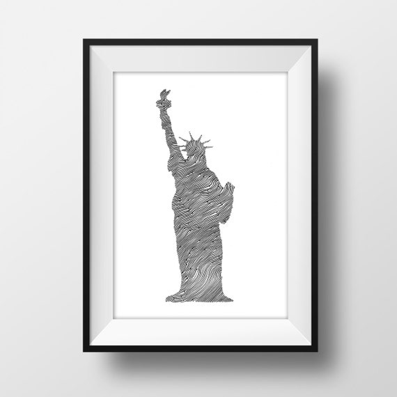 Statue of Liberty Line and Circle Illustration Print - Ink- Drawing - Art