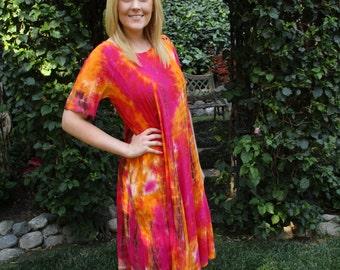 Plus Size Hippie Dress, Tie Dye Dress, Plus Size Summer Dresses, Cotton Gauze, Boho Cotton, Fuchsia, Orange, Brown S M L XL  Short Sleeve