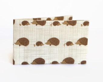 Credit Card Holder, Oyster Card Wallet, Business Card Holder, Subway Pass Case - Hedgehogs on cream