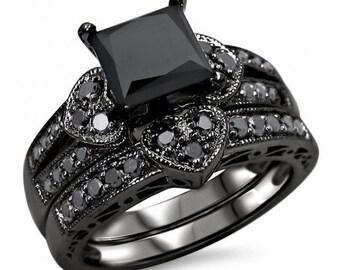 2.32ct Black Princess Cut Diamond Heart Engagement Ring Wedding Set 14k Black Gold