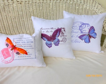 Butterfly Accent pillow cover - White Linen Pillow Cover  - Vintage French Postcard - sofa pillow -  French country decor