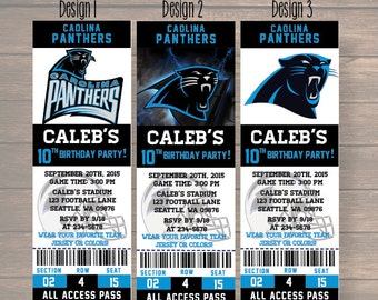 Carolina Panthers,  Carolina Panthers Invitation,  Carolina Panthers Birthday Party, Football Ticket, digital file