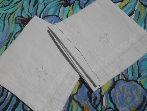 "2 Large Victorian White Linen Men's Handkerchiefs Bordered ""L C""  Monogrammed French Tissues Pocket Squares"