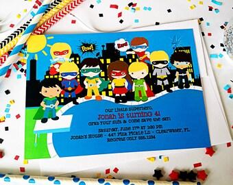 Superhero Invitation, Superhero Invite, Superhero, Superheros, Superheroes, Superhero Party, Superhero Birthday, Super Hero Party // 447