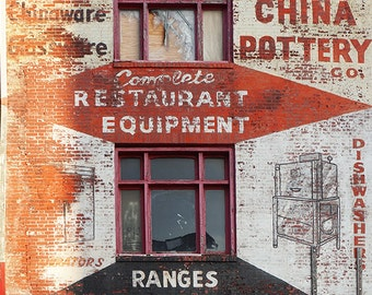 Trenton China Pottery - Wall Decor - Fine Art Photography Print - Red, Pink, Brick, Industrial, Philadelphia, Advertising, Kitchen