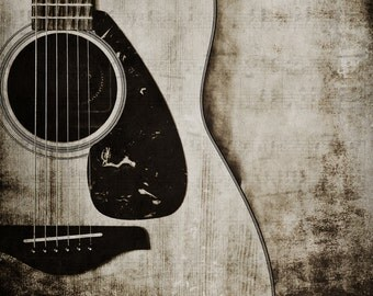 Guitar Photography, Fine Art Print, Musical Instrument, Music Room Decor, Music Lover Gift Idea, Guitarist Gift, Rustic, Black and White Art