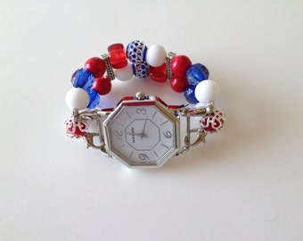 4th of July Double Stranded Red White & Blue Beaded Watch Band Set (265)