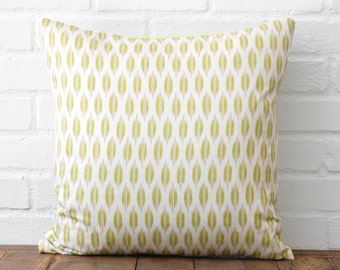Green Leaf Print Pillow with Lime Green Back - 18x18
