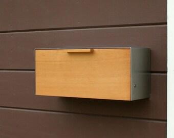 Modern Mailbox,  Cedar and Stainless Steel Mailbox