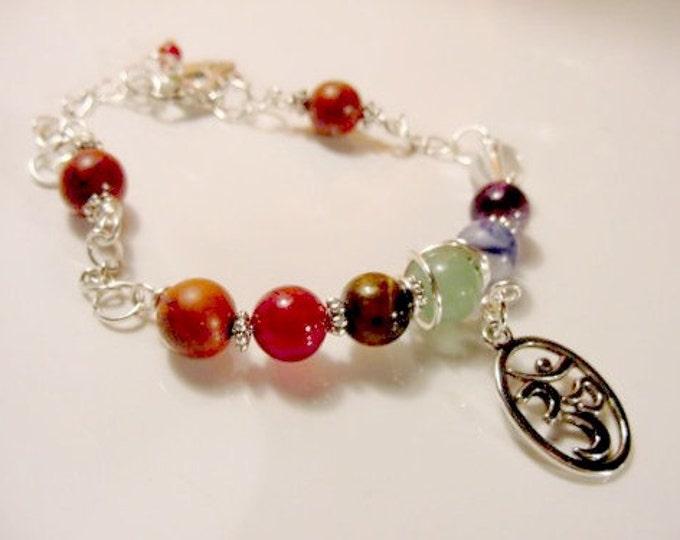 7 Chakra Bracelet Chain Bracelet OM Charm, Reiki Jewelry, Semi Precious Stones, Wire Wrapped, Valentines Day Gift Idea