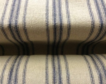 "Grain Sack Fabric By The Yard - Farmhouse Cream Fabric - Blue 12 Stripe - 54"" Wide - Upholstery Weight"