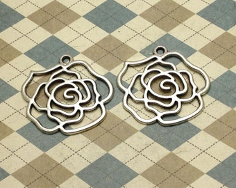 10 pcs of Antique Silver Filigree Rose Flower Pendants Charms 37mmx39mm