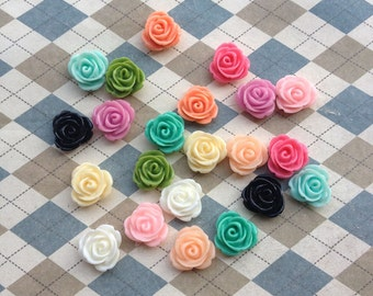 100pcs 14mm Mix color Rose Flowers Cabochons Cameo Base Setting Resin Rose Flower