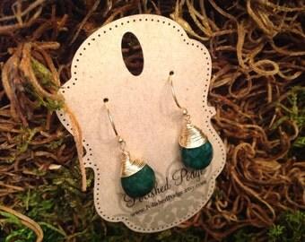 Emerald earrings; May birthstone earrings; large emerald earrings; green earrings