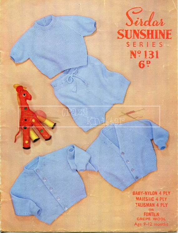Baby Boy Cardigans Jersey Trousers 9-12 months 4-ply Sirdar Sunshine Series 131 Vintage Knitting Pattern PDF instant download