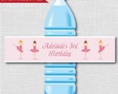 Little Ballerina Party Water Bottle Label - Ballet Birthday - Weatherproof Water Bottle Labels - Digital or Handcrafted - FREE SHIPPING