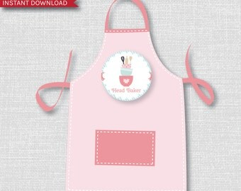 Baking Party Apron Iron-On Decal Transfers - Baking Party T-Shirt Transfer - Bake Shop Party - INSTANT Download