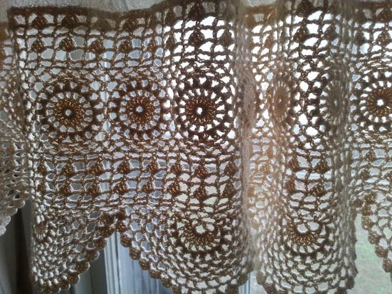 Curtains Ideas crochet curtain patterns valances : Boho Gypsy Curtain Valance Wide Crochet Valance