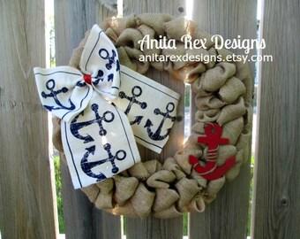 Nautical Wreath, Nautical Burlap Wreath, Nautical Decor