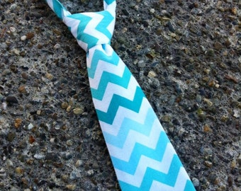 Boys Neck Tie, Infant Tie, Chevron Necktie, Green, Blue, Turquoise, Aqua Neck Tie