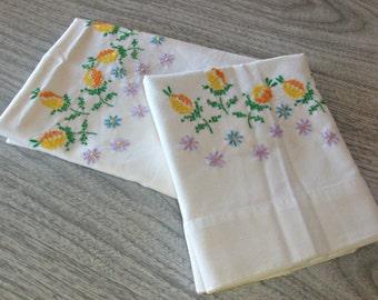 Vintage Yellow, Orange, Green, Purple and Blue Flower Pillowcases