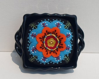 Handmade Pincushion Felted Wool Bright Blossom in Black Container