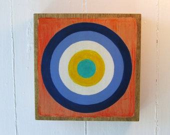 Hand Painted Bullseye 6x6 Art Block Orange, Navy, Periwinkle, Yellow and Turquoise