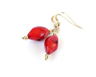 Red Coral Earrings, Coral Earrings, Red Earrings,Red Gold Earrings, Gold Earrings, Gold Filled Earwires, Organic Jewelry