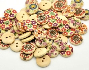 Wholesale, Bulk Buy Painted Wood Buttons 15mm B10608