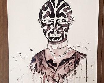 Great Omi Tattooed Man Print